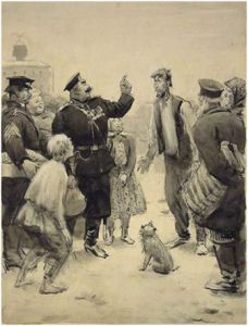Иллюстрации Герасимова С.В. к рассказу Чехова А.П.  « Хамелеон».1945 г.