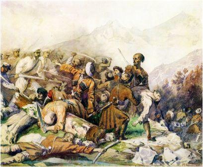 Сражение при Валерике. Рисунок М.Ю.Лермонтова.